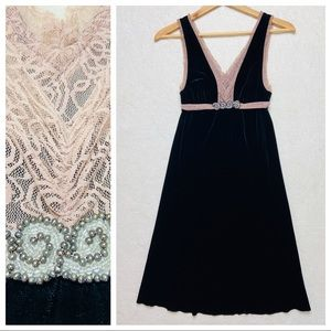 Free People Black Pink Velvet Lace Bead Dress S
